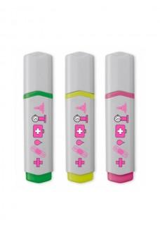 Overstregningspen 3 Stk Medicinske symboler Pink