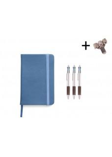Sæt Notesbog A5 + Kuglepenne Blå
