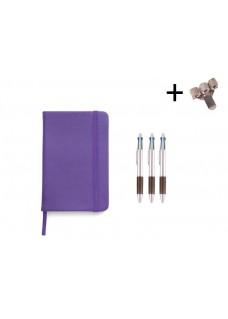 Sæt Notesbog A5 + Kuglepenne Lilla