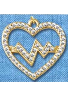 Vedhæng Heartbeat Guldstor