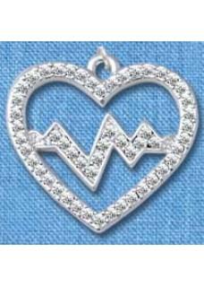 Vedhæng Heartbeat Sølv stor
