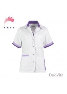 Haen sygeplejerske jakke Bente Hvid Violet