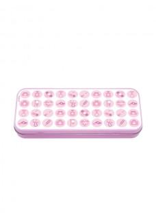 Metal Stationary Case Medicinske Symboler Pink