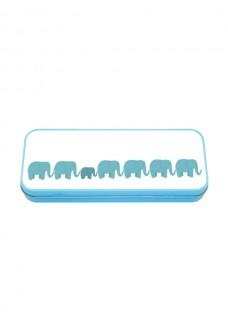 Metal Stationary Case Blå Elefanter