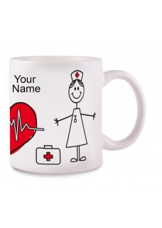 Krus Stick Nurse Hvid