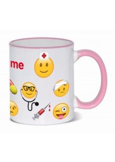 Krus Emoji Nurse med navm Pink