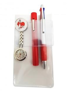 Pocket Protector Hvid + Tilbehør Rød