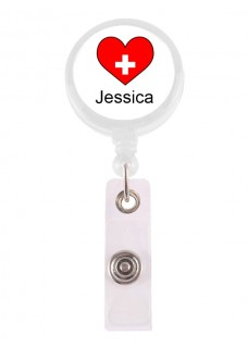 ID-Holder Rødt Hjerte med navn udskrift
