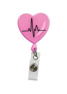 Retracteze ID-Holder Hjerte EKG Pink