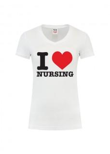 Dame T-Shirt I love Nursing Hvid