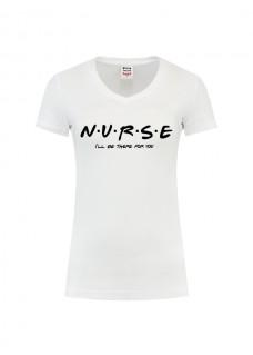 Dame T-Shirt Nurse For You Hvid