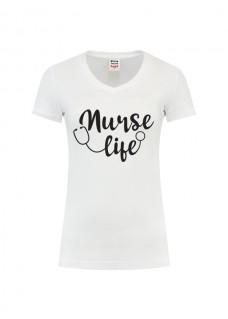 Dame T-Shirt Nurse Life Hvid