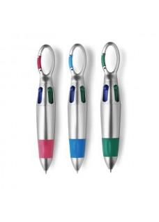 Kuglepenne med karabinhage og fire farver 3 stk.