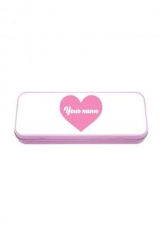 Metal Stationary Case Pink Hjerte