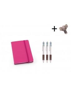 Sæt Notesbog A6 + Kuglepenne Pink