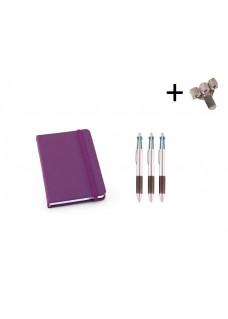 Sæt Notesbog A6 + Kuglepenne Lilla