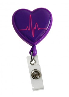Retracteze ID-Holder Hjerte EKG Violet