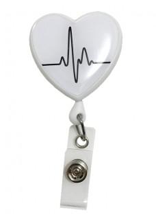 Retracteze ID-Holder Hjerte EKG Hvid