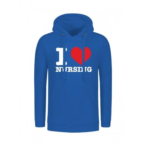 Hættetrøjer I Love Nursing Blå