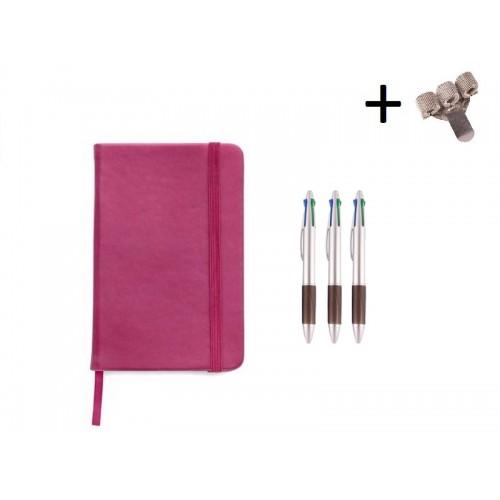 Sæt Notesbog A5 + Kuglepenne Pink