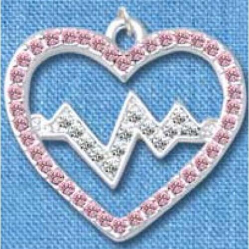 Vedhæng Heartbeat Sølv-Rosa stor