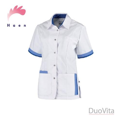 Haen sygeplejerske jakke Bente Hvid Blå