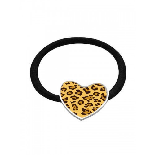 Elastic Hair Band Panther Yellow Hjerte