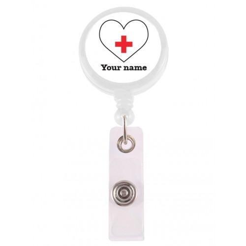 ID-Holder Hvid Hjerte med navn udskrift