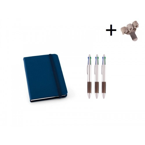 Sæt Notesbog A6 + Kuglepenne Blå
