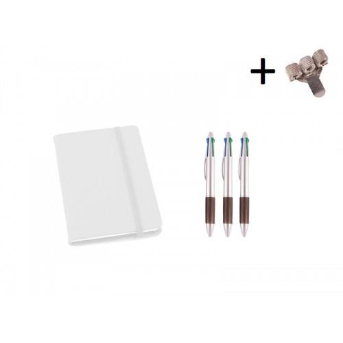 Sæt Notesbog A6 + Kuglepenne Hvid